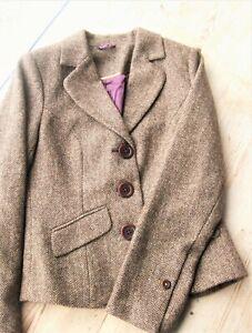BODEN Classic Wool Tweed Jacket SZ 10 may fit 8 bust best- Brown Herringbone
