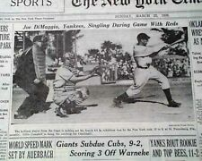 Rare JOE DiMAGGIO Batting at Spring Training in Florida PHOTO 1936 NYC Newspaper