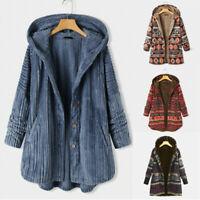 Women Warm Fleece Hooded Hoodies Jacket Coat Casual Loose Tops Outwear Plus