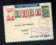 1946 Air France First Flight Cover FFC Casablanca Morocco to Santiago Chile