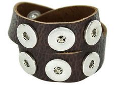 Doppeltes Chunk Leder Armband dunkel braun 6 Druckknöpfe Click Button Kette Ring