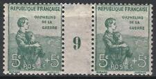 """FRANCE STAMP TIMBRE 149 """" ORPHELINS 5c+5c PAIRE MILLESIME 9 """" NEUF xx TB  M199"""