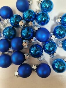 2 X Packs Of Blue Glass Baubles Christmas Xmas Ornaments Decorations hanging 2cm