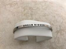"MantraBand Cuff Bracelet ""DREAM BIGGER"" Silver New! Open Adjustable Bangle"