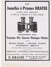PUBLICITE ADVERTISING 044 1913 Jumelles à prisme KRAUSS ministère de la Guerre