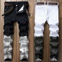 Fashion Men Denim Pants Ripped Beggars Bottom Zipper Skinny Distressed Jeans