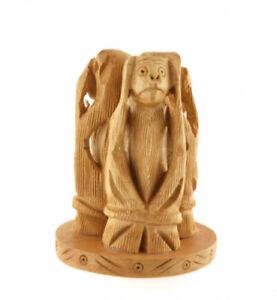 3 Scimmie Da La Saggezza Statuetta IN Legno Artigianato Fatto Mano H: 9 CM