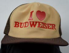 Rare Vintage I Love Heart Budweiser Trucker Mesh Snapback Hat Cap Beer Frat 90s
