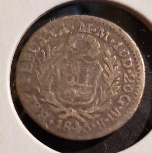 Peru 1846 MB 1/2 Real - Silver - RARE