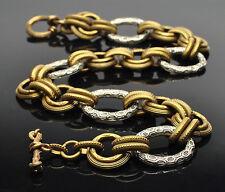 STEPHEN DWECK Sterling Silver Bronze Link Toggle Necklace