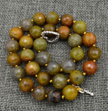 12mm Faceted Yellow Dragon Veins Agate Round Gemstone Beads Necklace 18''