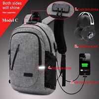 Anti-theft Men Women USB Charging Backpack Laptop Notebook School Travel Bag