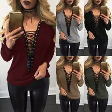 UK 8-24 Winter Womens Lace-up V Neck Tops Plunge Blouse Sweater Jumpers Knitwear