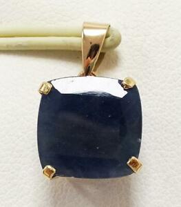 SYJEWELLERY NICE 9CT SOLID YELLOW GOLD NATURAL SQUARE SAPPHIRE PENDANT P963
