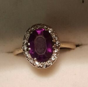VINTAGE 9 CT GOLD AMETHYST & DIAMOND CLUSTER RING  SIZE  O  7