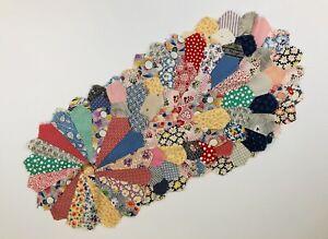 "Vintage Dresden Plate Block Quilt Pieces Set of 9 - 15"" across cotton fabric"