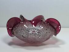 Murano cranberry silver and gold mica art glass ashtray