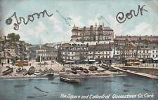 Antique POSTCARD Square and Cathedral QUEENSTOWN CORK, IRELAND 18887