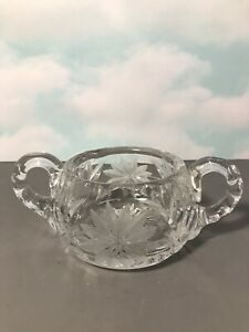 Vintage Heavy Crystal Etched Glass 2 Handled Open Sugar Bowl