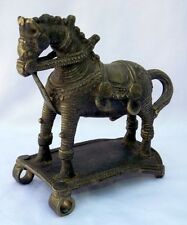 Rare Antique Hand Crafted Brass Horse Figure Old Brass Kathiawar Horse Statue