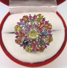 7.65 CTW FANCY SAPPHIRE & RUBY RING #8 - 14k WHITE GOLD over 925 STERLING SILVER