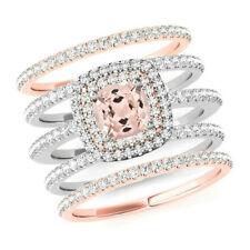 1Ct Cushion Morganite Simulnt Diamond Halo Engagement Ring Silver Rose Gold Fnsh