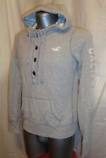 Men's HOLLISTER grey long sleeved embro button neck hoodie top sz L great con