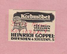 DRESDEN, Werbung 1914, Heinrich Goppel Korb-Möbel
