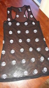 Mint Cond Teenage Runaway Mesh Sheer Skull Print Tank / Short Dress S/M