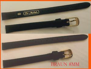 10 MM Genuine Leather Watch Strap Jeweler Stock Di-Model Good Quality Dark Brown
