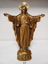 E1 Exceptionnel Christ - Sacré coeur - Jésus  - Crucifix - France étain