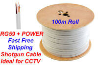 100M RG59 +2 Shotgun 2 Core CCTV Video and Power Cable Reel WHITE DVR Video Coax
