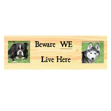 Personalised Dog Warning Sign Beware Dogs Metal Kennel Gate Fence Door Plaque
