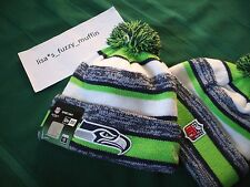 Seattle Seahawks New Era knit pom hat beanie NEW Tags OnField AUTHENTIC! 2014-15