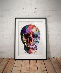 Skull abstract print, poster, prints, posters, watercolour, wallart, gift