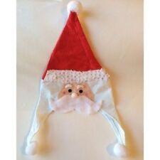 Christmas Santa Claus Novelty Felt Sequins Face Hat w/Pom Pom. One Size.
