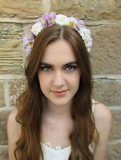 Ivory White Rose Lavender Flower Hair Crown Headband Vintage Purple Daisy W88