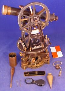Unusual 1915 Ainsworth Mining Transit Box 3 Screw Level Base Odd Verniers