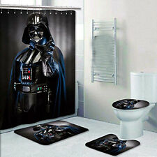 Star Wars 4PCS Bathroom Rug Darth Vader Shower Curtain Bath Mat Toilet Lid Cover