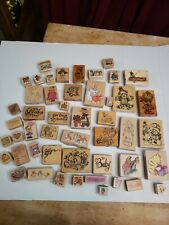Lot of 48 Stamps Wood Mounted Rubber New and Used mixed lot