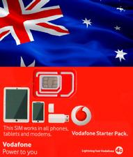 Vodafone, Australian PREPAID SIM. NANO, MICRO or STD. For AUSTRALIA. 0 credit.