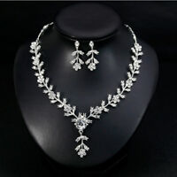 Fashion Crystal Necklace Earrings Silver Plated Jewelry Set for Wedding Party GQ