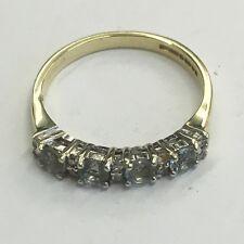 Vintage Solid 9ct Gold Diamond & Aquamarine  Dress Ring Size K