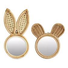 Rattan Innovative Art Decoration Monkey Rabbit Ears Makeup Wall Dressing Mirror