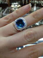 Pre Owned DAVID YURMAN ALBION 11MM BLUE TOPAZ DIAMOND RING  SIZE 8