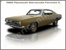1968 Plymouth Barracuda Formula S New Metal Sign: Pristine Restoration