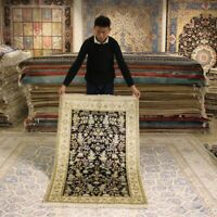 Yilong 3'x5' Handmade All Over Carpets Hand Knotted Silk Area Rug 078B
