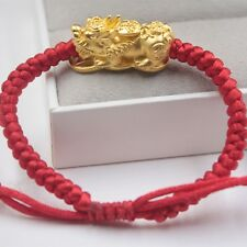 2018 new 24k Yellow Gold Craved 3D Coin Pixiu Red Knitted Chain Bracelet