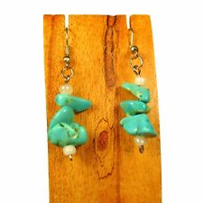 "1"" Aqua Blue Turquoise Color Stacked Stone Chip Handmade Drop Dangle Earring"