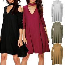 Ladies Cold Shoulder Choker Rib Knit Skater Swing Dress Long Sleeve Midi Flared